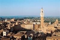 Italy. Tuscany. Siena. Piazza del Campo. Mangia tower.