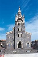 Facade of a cathedral, Cathedral of Santa Maria, Randazzo, Sicily Region, Italy