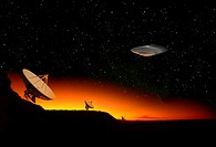 UFO Flying Past a Radio Telescope Array