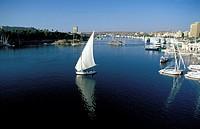 Aswan, felucca sailboats on the Nile