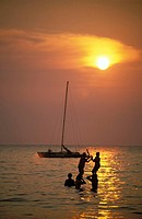 Tioman, children playing at sunset