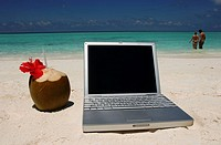 Maldives, laptop on beach