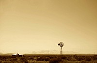 South America, Argentina, Mendoza, Malargue route, windmill in desert