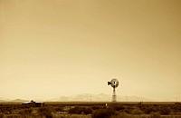 South America, Argentina, Mendoza, Malargue route, windmill in desert
