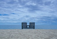 USA, Massachusetts, Cape Cod, two beach chairs near ocean