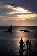 Mauritius, beach on sunset (thumbnail)