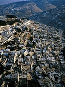 Israel, Jerusalem, aerial view of the Palestinian quarter