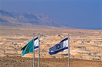 Israel, near the Dead Sea, Judean desert, Masada, Israeli flags
