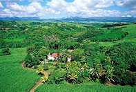Reunion, Sainte-Suzanne, ancient sugar cane plantation, aerial view