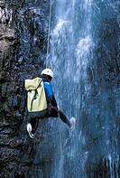 Reunion, Cilaos cirque, canyoning in a waterfall