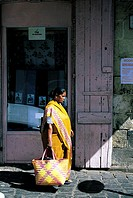 Mauritius, Port-Louis, woman wearing a sari