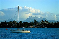Mauritius, moored sailing boat on the lagoon