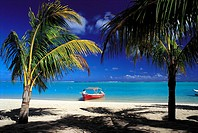 Mauritius, Morne Brabant, beach and boat