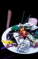 Scotland, Glasgow. Plate of Oysters at the Arisaig, a trendy restaurant serving modern Scottish cuisine