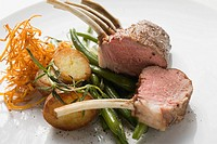 Rack of lamb with potatoes and green beans