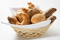 Bread rolls and croissants in bread basket