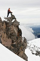 Mountaineer in snowy mountain