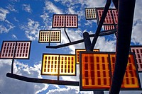 Solar-tree in the Ulmer residential area solar city, Ulm, Baden-W&#252;rttemberg, German