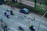 Runner, at, Marathon, and, biker, street, ´An, der, Alster´, St , Georg, Hamburg, Germany,
