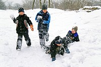Boys, in, snow, Baden-Wurttemberg, Germany, cap, snowball, fight, snow, suit,