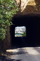 Tunnel on the 'Pig Tail Highway' on the way to Mount Rushmore, USA
