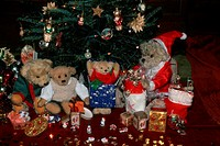Teddy, bears, with, Santa, Claus, under, christmas, tree,