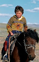 Kazak, boy, on, horse