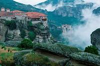 Meteora, Monasteries, Varlaam, and, Roussanou, on, Meteora, Rocks, Thessaly, Greece