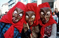 People, with, carnival, masks, at, Monday, before, Lent, Mainz, Rhineland-Palatinate, Germany