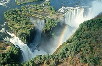 Devil´s Cataract and Main Falls - Aerial View  Victoria Falls, Zambezi River, Zimbabwe/Zambia