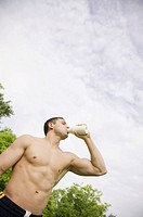 Thirsty bare chested man (thumbnail)