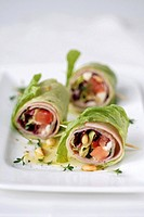 Lettuce and ham rolls