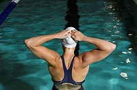 Woman preparing for swim