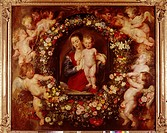 fine arts, Rubens, Peter Paul, 28 6 1577 - 30 5 1640, Gemälde Madonna in a Garland of Flowers, 1616/17, oil on panel, Alte Pinakothek, Munich, baroque...