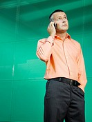 Businessman on mobile phone in green office