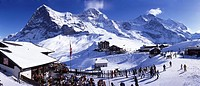 Switzerland, Europe, Bernese Oberland, Kleine Scheidegg, Eiger, Monch, Jungfrau, Canton Bern, Winter, Winter sports, s