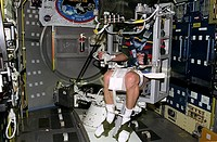 Neurolab off axis rotator  Astronaut sitting in the Neurolab off-axis rotator aboard space shuttle Columbia during mission STS-90 17th April European ...