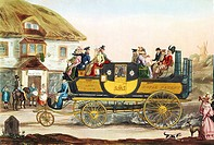 Steam-powered coach, historical artwork  This coach was known as the Gurney steam carriage and resembles a horseless stage coach with a boiler at the ...