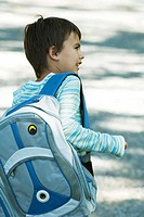 Boy wearing backpack, rear view