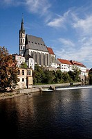 View of Vltava river and church of St. Vitus, Cesky Krumlov, Czech Republic