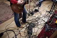 Tangled guitar and amplifier cords