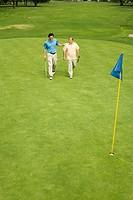Two men walking on green