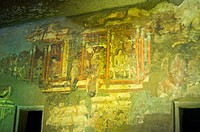 Mural on the wall of a cave, Ajanta, Maharashtra, India