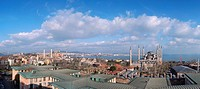 Sultanahmet district and Blue Mosque, Istanbul, Turkey