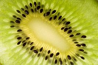 Close-up of a slice of kiwi fruit