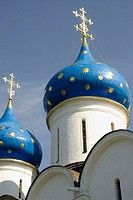 Russia. Sergiev Posad. Trinity Monastery. Onion domes of the Cathedral of the Assumption