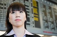 Close-up of a businesswoman at an airport