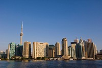 View of skyline from Toronto Islands ferry on Lake Ontario, Toronto, Ontario, Canada