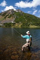 Flyfisherman at Silvern Lake, Smithers, british columbia, canada