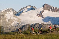 Mountain biking in the coast mountains near Whistler, British Columbia, Canada